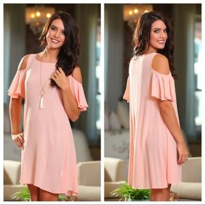 ❤️ LAST ONE! Peach Cold Shoulder Chiffon Dress